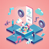 Music isometric concept illustration with people