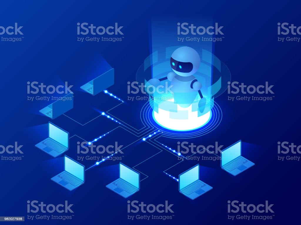 Isometric Concept Of Artificial Intelligence Controls Computers Or