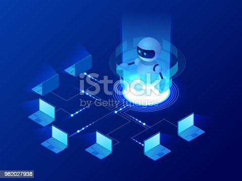 Isometric concept of artificial intelligence controls computers or internet, digital network. Chatbot, video broadcast, stories, SMM promotion, online analytics. Technology web virtual background.