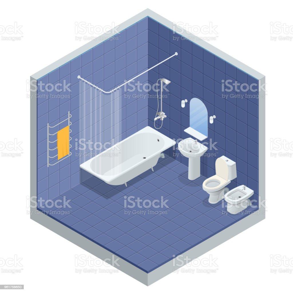 Isometrische Konzept Der Innenarchitektur Badezimmer Mit Bad, Dusche,  Spiegel Und Handtücher, WC,