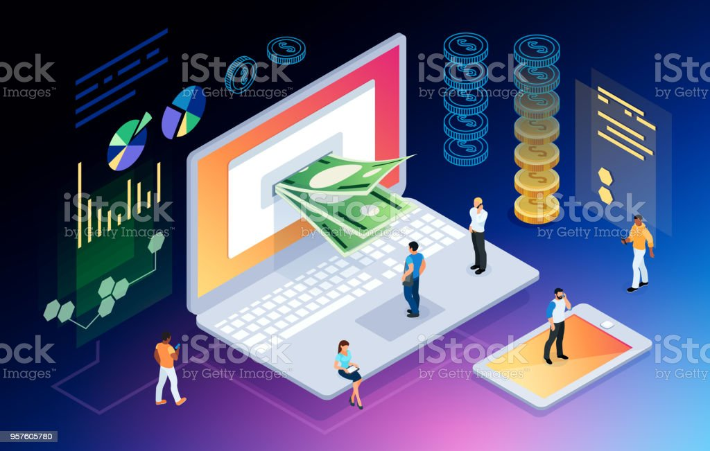 Isometric concept of crypto currency. Isometric concept of crypto currency. 3d people mining money through the computer screen. E-commerce. Vector illustration. Banking stock vector