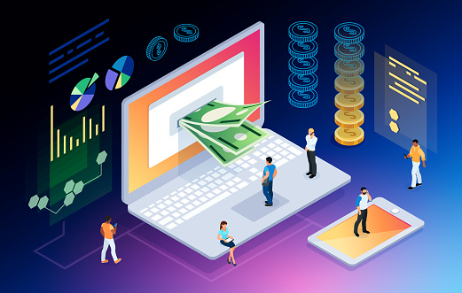Isometric Concept Of Crypto Currency Stock Illustration - Download Image Now