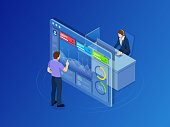 Isometric concept of data network management. Businessmans in data center room. Hosting server and computer database. Vector illustration