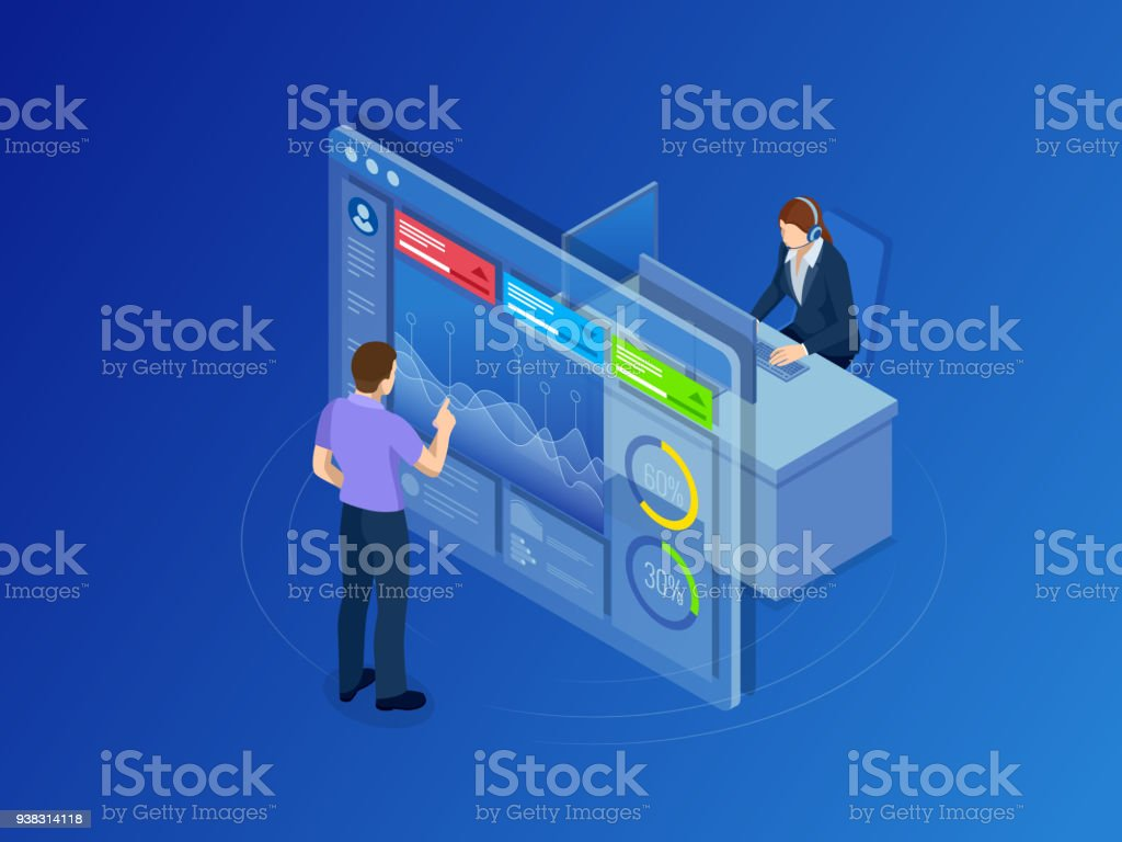 Isometric concept of data network management. Businessmans in data center room. Hosting server and computer database. vector art illustration