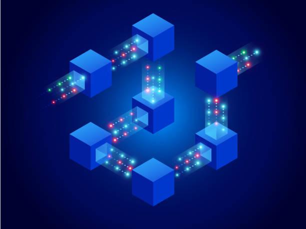 stockillustraties, clipart, cartoons en iconen met isometrisch concept van quantum computers, blockchain, it-technologie of codering. informatie blokken in cyberspace. gedecentraliseerd netwerk. vector illustratie - blockchain