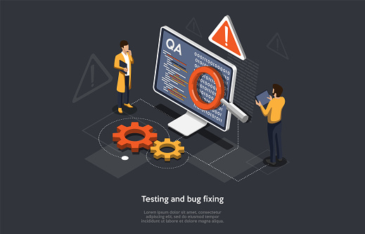 Isometric Concept Of Research and Develop Of Mobile Application. People are Testing and Bug Fixing in the Mobile Application. Vector illustration