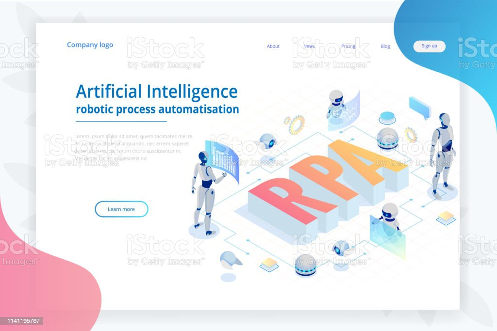 Isometric Concept Of Rpa Artificial Intelligence Robotics