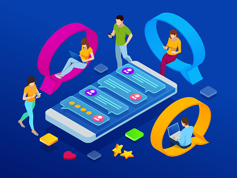 Isometric concept of social media network, digital communication, chatting. Online chat man and woman app icons. Chat messages notification on smartphone