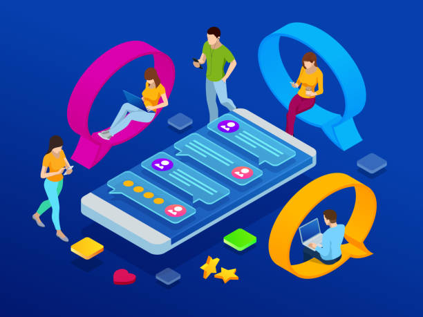 ilustrações de stock, clip art, desenhos animados e ícones de isometric concept of social media network, digital communication, chatting. online chat man and woman app icons. chat messages notification on smartphone. - inbound marketing