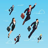 Isometric concept of start-up. 3d businessmen flying in the sky as a superhero. Men and women in suits and briefcases are flying up. Vector illustration.