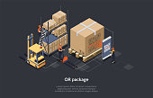 Isometric Concept Of Warehouse, Logistic Delivery Service And Staff. Workers Are Sorting, Scanning Goods. Worker Is Scanning Qr Code Of Package Before Loading And Shipment. Vector illustration.