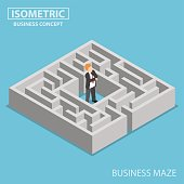 Flat 3d isometric confused businessman stuck in a maze, finding a solution and problem solving concept