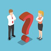Flat 3d isometric confused businessman and businesswoman with question mark sign.