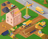 Two storeyed building construction process 3d isometric horizontal vector illustration