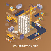 Construction building site material and machinery isometric concept on brown background 3d vector illustration