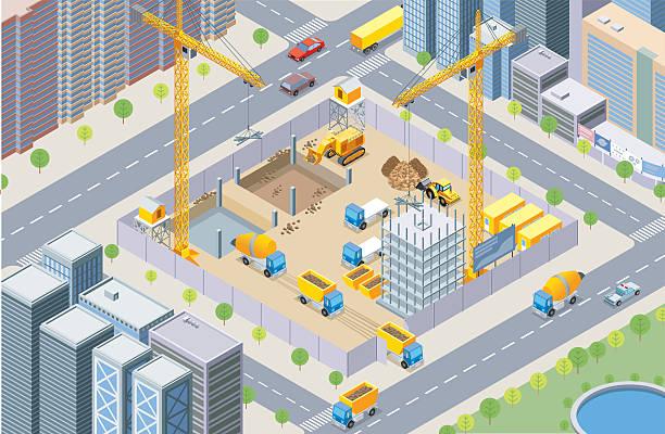 ilustrações, clipart, desenhos animados e ícones de isometric, construção site - operário de construção