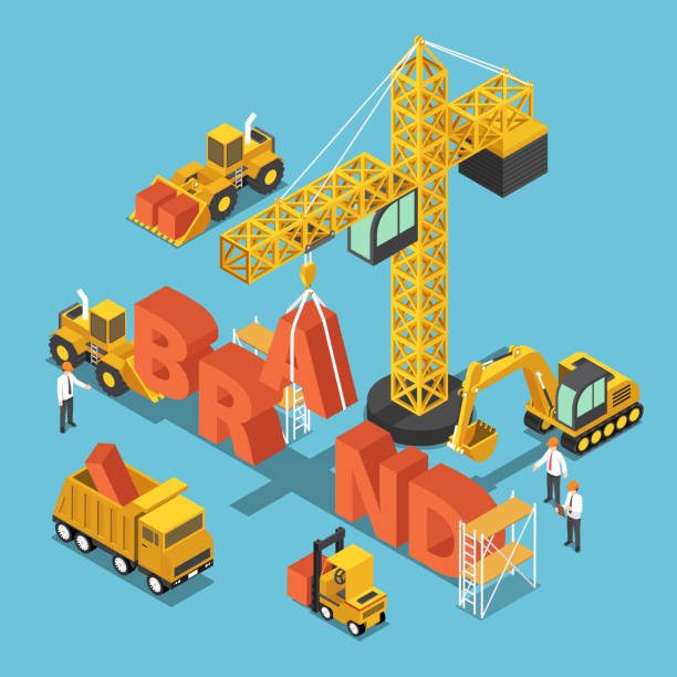 Isometric construction site vehicles buildding BRAND word vector art illustration
