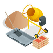 Isometric Construction tools and materials. Building. Construction building icon isolated white background. Vector illustration