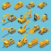 Flat 3d isometric construction transport icon set include excavator, crane grader, cement mixer truck, road roller, forklift, bulldozer