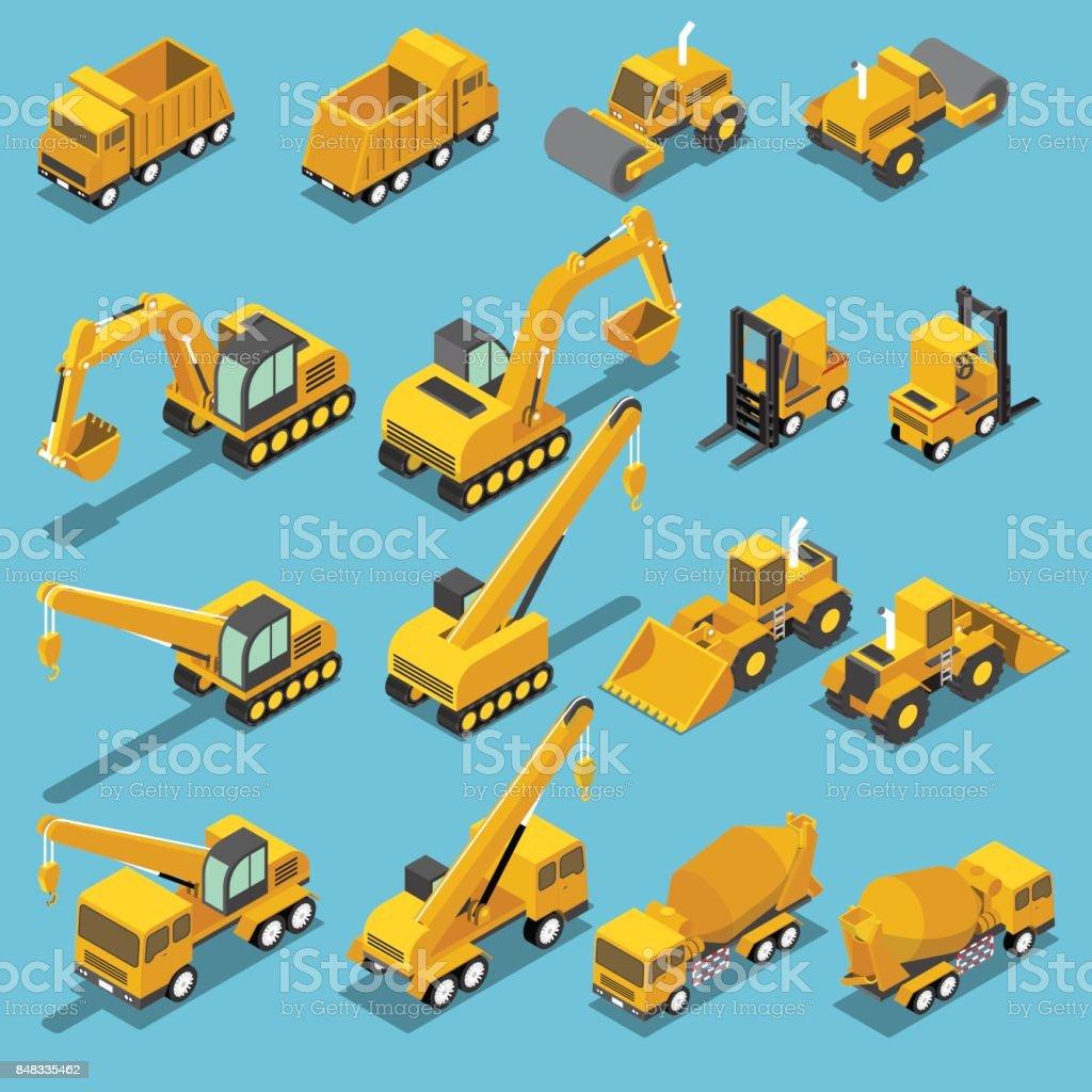 Isometric construction transport icon set vector art illustration