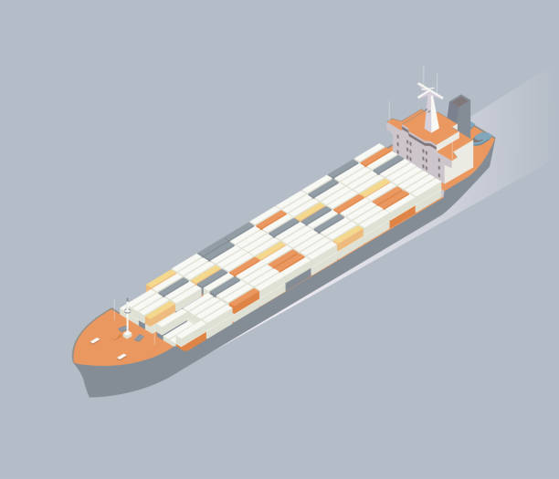Isometric container ship illustration vector art illustration