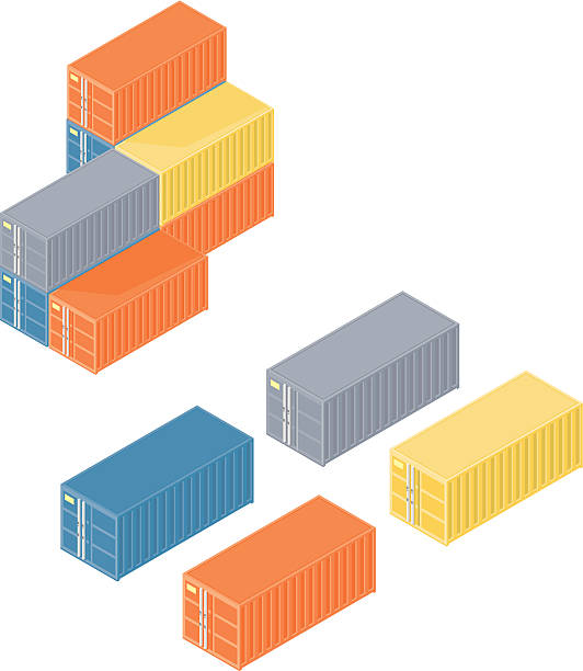 isometric containern - container stock-grafiken, -clipart, -cartoons und -symbole