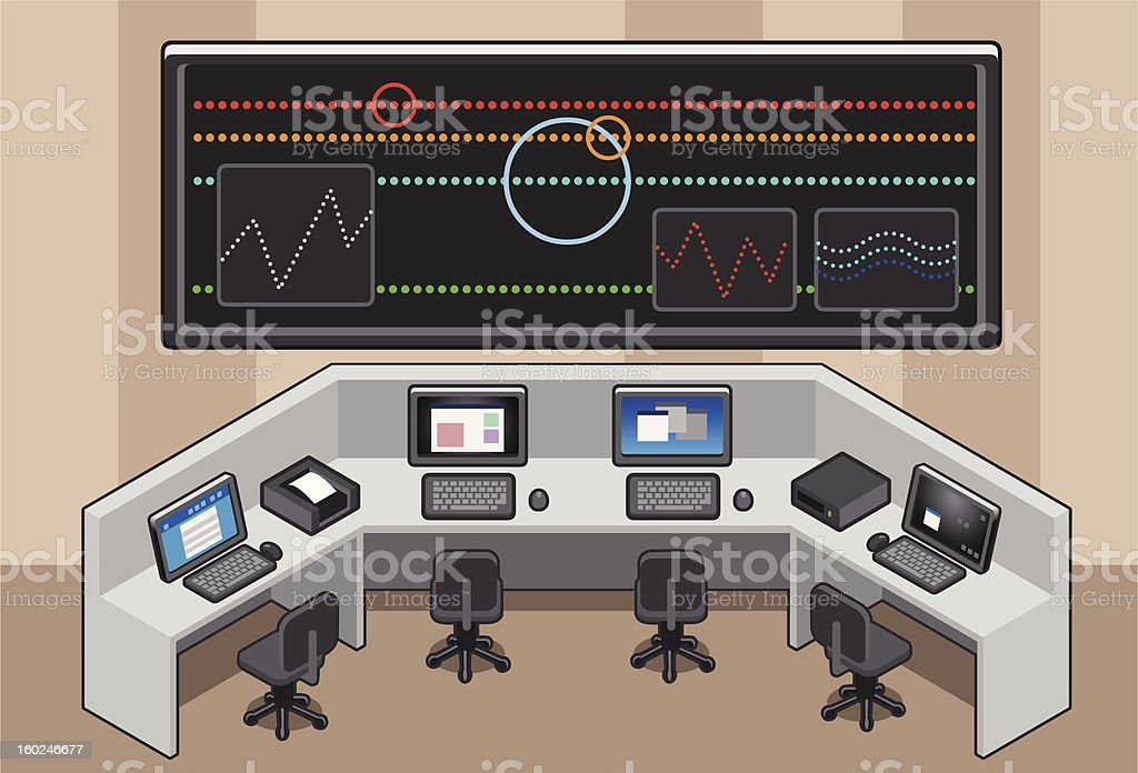 isometric Control center royalty-free stock vector art