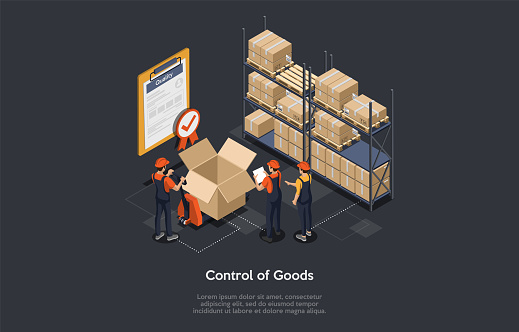 Isometric control of goods concept. Warehouse workers are checking goods, certificate of quality with checkmark for stock quality, quality control of cardboard parcel boxes, process of packaging cargo