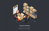 Isometric control of goods concept. Warehouse workers are checking goods, certificate of quality with checkmark for stock quality, quality control of cardboard parcel boxes, process of packaging cargo. Vector illustration.