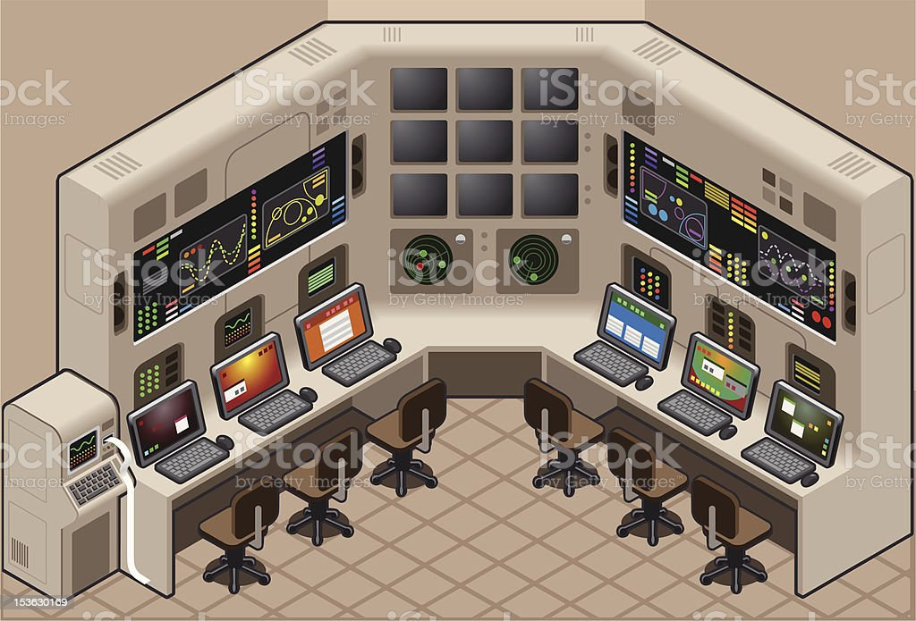 Isometric Control Panel vector art illustration