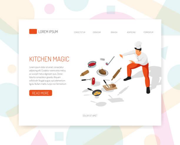 изометрический повар концепции баннер - food delivery stock illustrations
