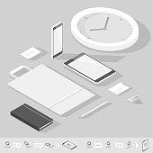 Corporate identity mock-up template. Flat isometric design. Vector illustration.