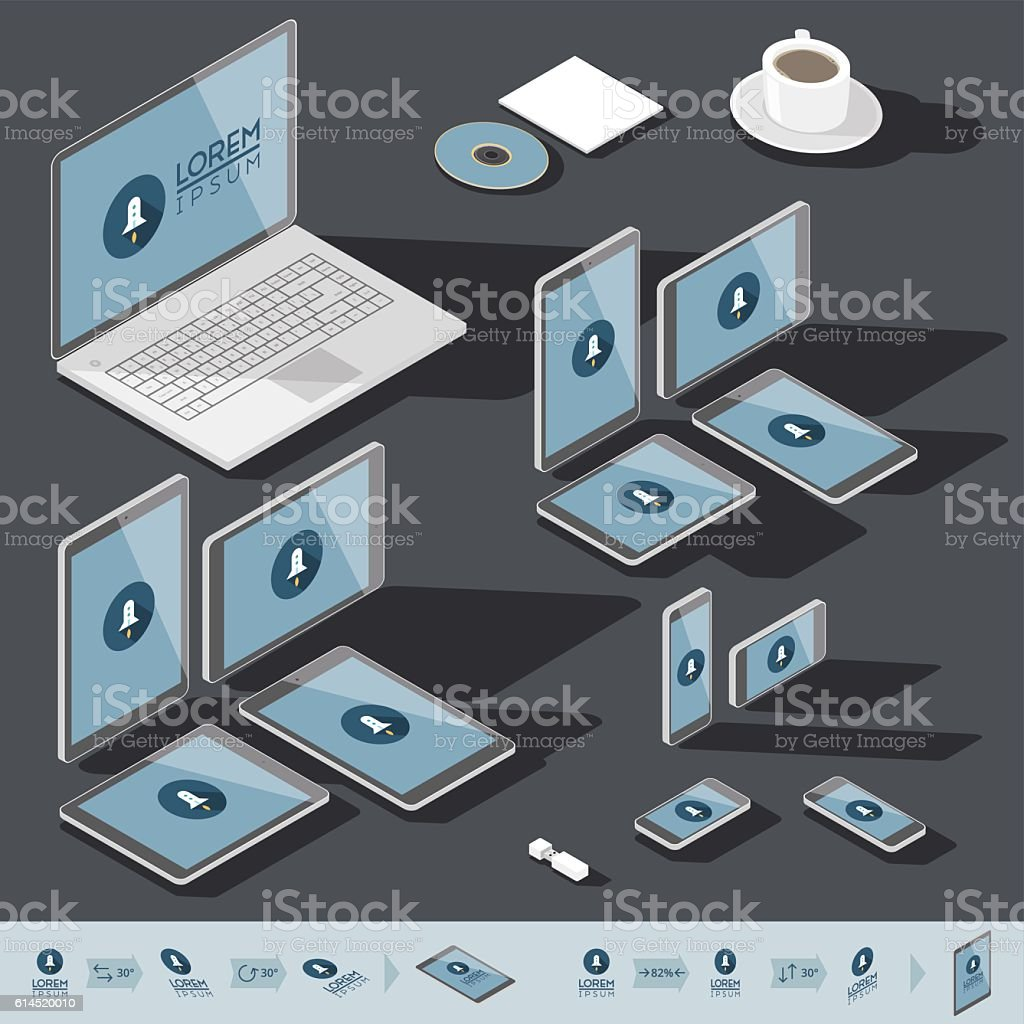 Isometric corporate identity template vector art illustration