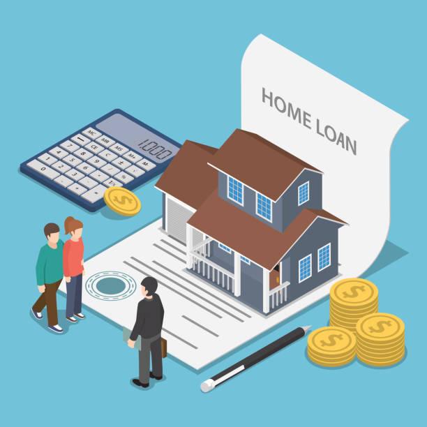 ilustrações, clipart, desenhos animados e ícones de isométrico par falar com a agente imobiliário. - empréstimo