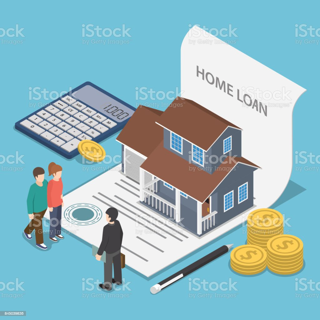 Isometric couple talking with real estate agent. vector art illustration