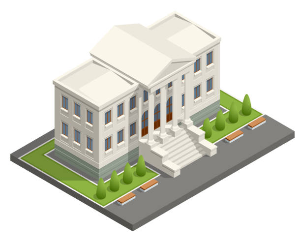 Isometric courthouse building. Law and justice concept. Vector illustration Isometric courthouse building. Law and justice concept. Vector illustration. courthouse stock illustrations