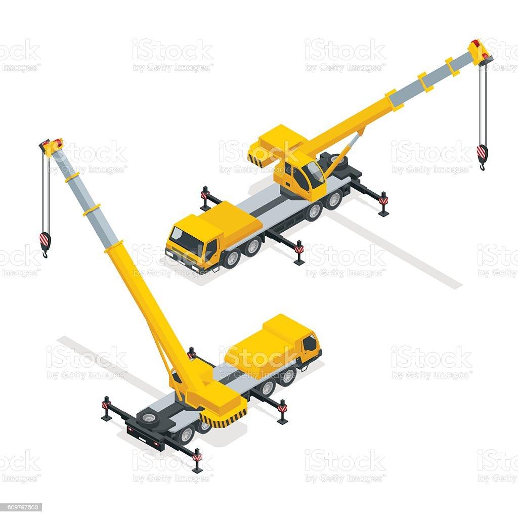 Isometric crane, heavy equipment and machinery vector art illustration