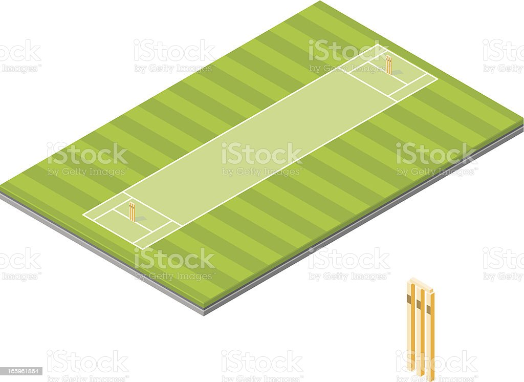 Isometric Cricket Pitch royalty-free stock vector art