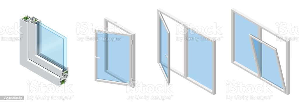 isometric cross section through a window pane pvc profile laminated wood  grain, classic white