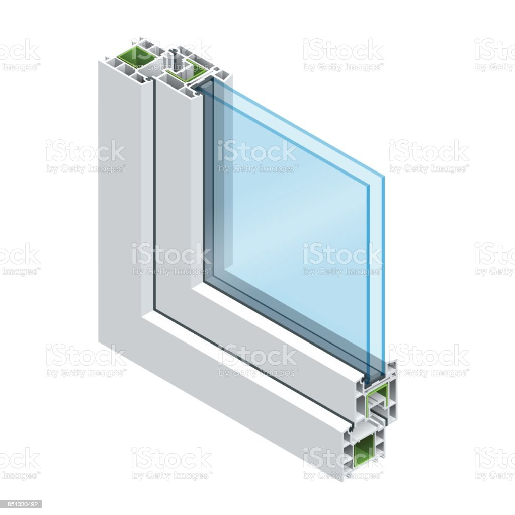 Isometric Cross section through a window pane PVC profile laminated wood grain, classic white. Flat vector illustration of Cross-section diagram of glazed windows. vector art illustration