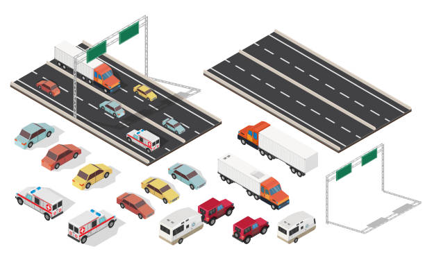 Isometric crossroads and city with highways traffic road set. Isometric crossroads and city with highways traffic road set. highway stock illustrations
