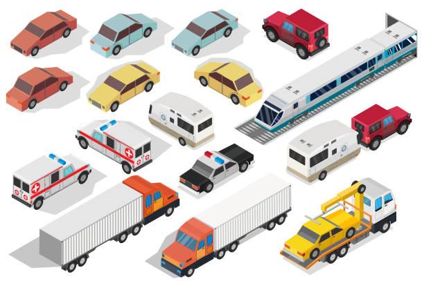 等尺性の交差道路および高速道路の交通路が付いている都市を設定します。 - バス点のイラスト素材/クリップアート素材/マンガ素材/アイコン素材