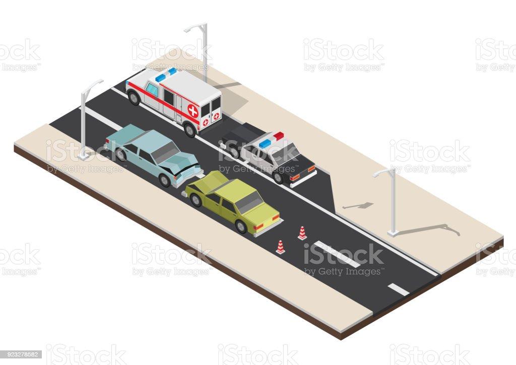 Cruce de peatones isométrica con la ilustración de vector de golpe coche - ilustración de arte vectorial