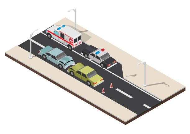 ilustraciones, imágenes clip art, dibujos animados e iconos de stock de cruce de peatones isométrica con la ilustración de vector de golpe coche - señalización vial