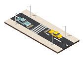 Isometric crosswalk with speed dump traffic vector illustration