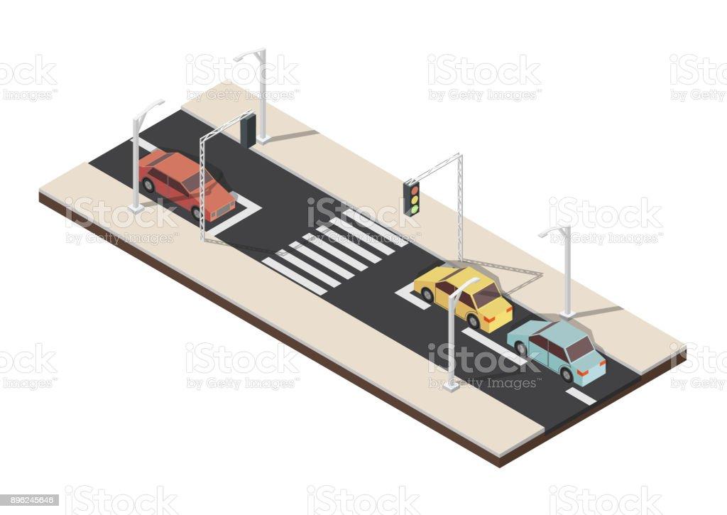 Isometric crosswalk with traffic light vector illustration vector art illustration