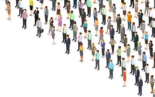 Isometric crowd of people
