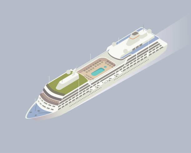 illustrations, cliparts, dessins animés et icônes de illustration de navire de croisière isométrique - croisière