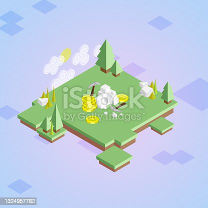 istock Isometric Crypto Mining - Cryptocurrency Video Game Concept 1324957762