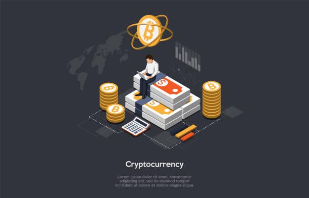 stockillustraties, clipart, cartoons en iconen met isometrische cryptocurrency en blockchainconcept. de mens houdt de wisselkoersen in de gaten, koopt en verkoopt cryptocurrencies. vectorillustratie - bitcoin